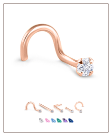 14K Rose Gold Nose Jewelry 2.5mm Round CZ -Choose Your Style