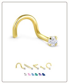 Yellow Gold Nose Jewelry 2mm Round CZ -Choose Your Style