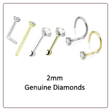 2mm Genuine Diamond Nose Ring