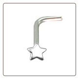 925 Sterling Silver Nose Stud L Bend 3.5mm Star 22G