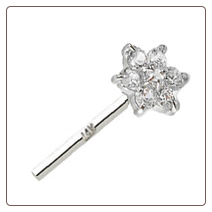 14KT Solid White Gold Straight Nose Stud 4.5mm Flower Cluster
