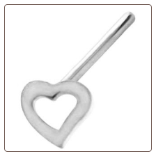 925 Sterling Silver Straight or L Bend Nose Stud 3mm Hollow Heart 20G