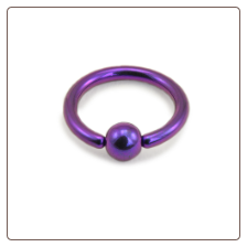 "Nose Ring Hoop Septum 1/4"" 6.4mm Titanium Dark Purple 18G"