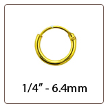 "Nose Ring Hoop 1/4"" 18K Gold Plated 6.4mm 22G"
