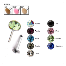 316L Surgical Steel Labret Style Nose Stud Push Pin 2mm Swarovski Gem