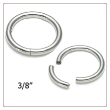 "Nose Ring Hoop Surgical Steel Segment Hoop 3/8"" 18G"