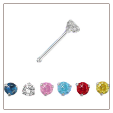 925 Sterling Silver Nose Bone 2mm CZ Choose Your Color 22G