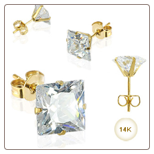 14KT Yellow Gold Earrings 3mm Square CZ