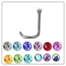 **BLOW OUT SALE** 316L Surgical Steel Nose Screw 1.8mm Gem 8mm Post- Choose Your Colors 20G