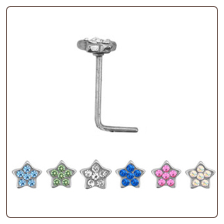 **BLOW OUT SALE** 316L Surgical Steel L Bend Nose Stud -Choose Your Color 4.5mm Star Cluster 20G