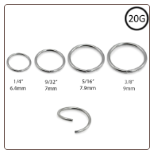 Seamless Annealed Nose Ring Surgical Steel Choose Size 20G