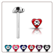 925 Sterling Silver Nose Stud Straight or L Bend -Choose Your Color Heart