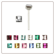 925 Sterling Silver Straight or L Bend Nose Stud -Choose Your Color 3.5mm Square Gem
