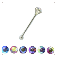 **BLOW OUT SALE** 925 Sterling Silver Nose Bone 1.8mm Round Gem Choose Your Color 22G