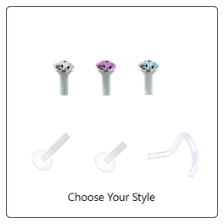 **BLOW OUT SALE** Bioflex Nose Screw -Choose Your Gauge & Color 2mm Round Gem