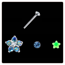 **BLOW OUT SALE** 925 Sterling Silver Mixed Nose Studs Flower Star 3 Pack 22G