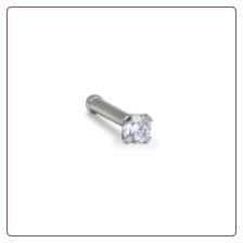 316L Surgical Steel Nose Bone 2mm Round Clear CZ 18G