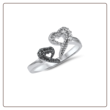 925 Sterling Silver Black Clear Heart CZ Toe Ring