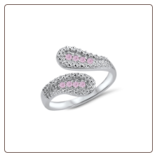 925 Sterling Silver Pink CZ Toe Ring