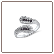 925 Sterling Silver Black CZ Toe Ring