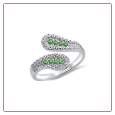 925 Sterling Silver Green CZ Toe Ring