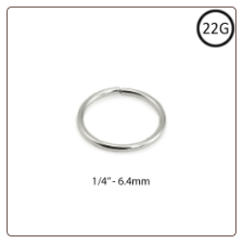 "14KT White Gold Seamless Nose Ring Hoop 1/4"" - 6.4mm 22G"