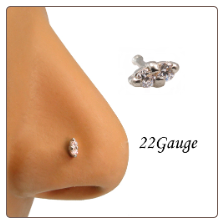 14KT White Gold Nose Bone 2 Stone Clear CZs 22G
