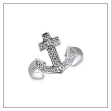 925 Sterling Silver Cross Anchor Toe Ring