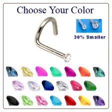 316L Surgical Steel Micro Small Gem Nose Screw 18G  - Choose Your Colors