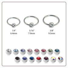 Nose Ring Hoop Surgical Steel Choose Gauge/Color 2mm CZ