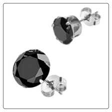 316L Surgical Steel Earrings 3mm Round Black CZ