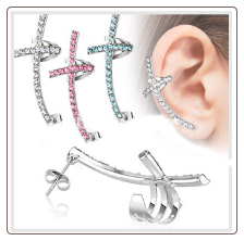 **BLOW OUT SALE** Earring Cross Ear Cartilage Dangle Earring Cuff 316L Surgical Steel Cross