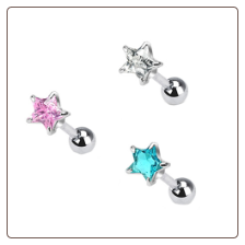 **BLOW OUT SALE** Ear Cartilage Helix Tragus Jewelry 5mm Star - Choose Your Color 16G