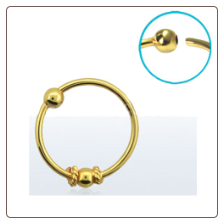 "Nose Ring 18KT Gold Plated Hoop Ball Wire 3/8"" 8.8mm 22G"