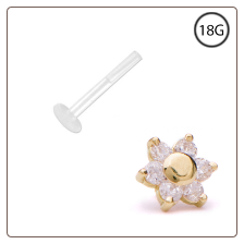 14KT Yellow Gold Bioflex Labret Style Push Pin Nose Stud 5mm Flower Cluster 18G