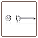 316L Surgical Steel Nose Bone 1.5mm Bezel Set Micro Gem 18G