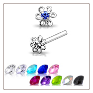 925 Sterling Silver Nose Studs Pins Straight or L Bend Flower Coil