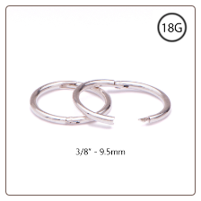 "Nose Ring Hinged Hoop 925 Sterling Silver 3/8"" 18G"
