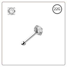925 Sterling Silver Nose Bone 2.5mm CZ 22G