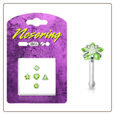 **BLOW OUT SALE** 925 Sterling Silver Nose Bones Mixed 5 Pack Peridot CZ 20G