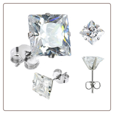 316L Surgical Steel Earrings Square 3mm CZ