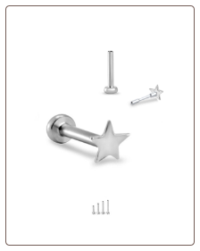 Titanium 14KT White Gold Labret Style Nose Stud - Choose Your Size 3mm Star 18G