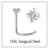 316L Surgical Steel Nose Screw RB 1.5mm CZ 18g