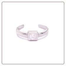 925 Sterling Silver Single Square CZ Toe Ring