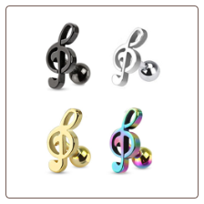 316L Surgical Steel Ear Cartilage Helix Jewelry Treble Clef Music Note