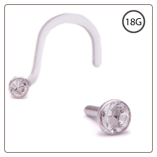 14KT White Gold Bioflex Nose Screw 2.25mm Bezel Set CZ 18G