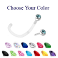 **BLOW OUT SALE** Bioflex Nose Screw 2.5mm Gem Bezel 18G