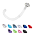 **BLOW OUT SALE** Bioflex Nose Screw -Choose Your Color 2.5mm Bezel Set Gem 18G