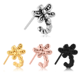 316L Surgical Steel Nose Hugger Dragonfly Stud Ring - Choose Your Style & Color 20G