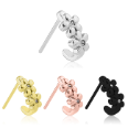 316L Surgical Steel Nose Hugger Flower CZ Stud Ring - Choose Your Style & Color 20G